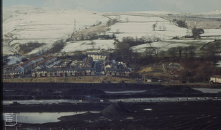 Aberfan. Coal washing. Snow on recontoured tip 6 February 1974