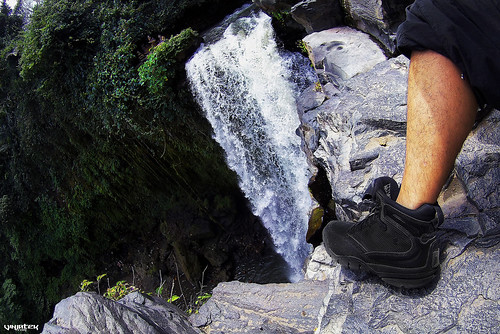Working the Shadow Amphibian Boots at Tegenungan Waterfall, Indonesia ///