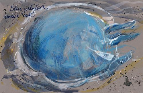 Wales: blue jellyfish washed up on Abersoch Beach, Lleyn Peninsula   by Laura Frankstone