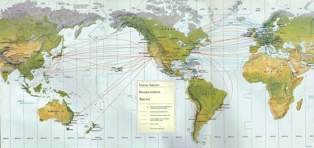 united airlines world map United International Routes 1996 United Airlines Internat Flickr