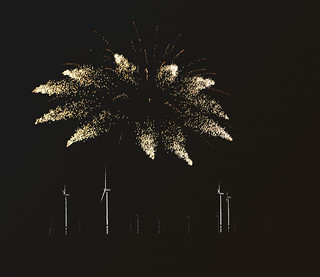 Fireworks over the windfarm