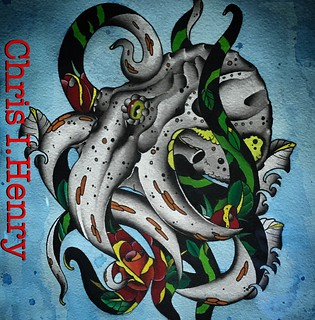 🌹🐙 liquid acrylic on arches cold press 11x17 for $150.00  I would also love to tattoo this design. Email if interested. chris@tattooboogaloo.com                    You can find me on Instagram as well. @chrishenry_tattoos.