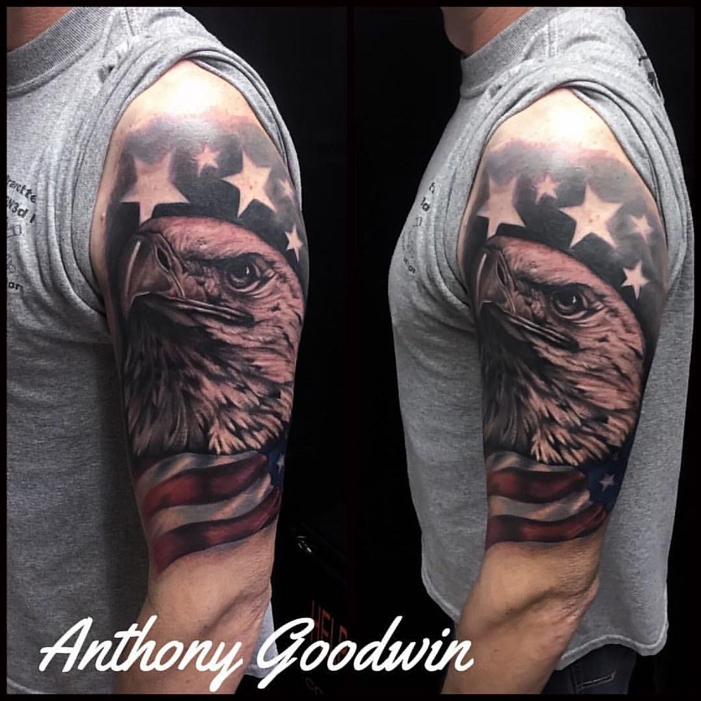 c1d682d57 #tenacioustattoo #artofdavidgoodwin #tattoo Started this #patriotic sleeve  today. First session. #tenacioustattoo #artofdavidgoodwin #tattoo
