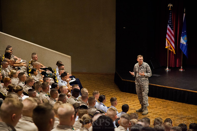 Major General Green speaks to AFROTC