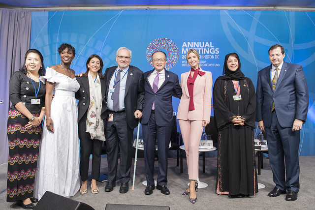 Sat, 10/14/2017 - 12:06 - October 14, 2017 - WASHINGTON, DC. World Bank / IMF 2017 Annual Meetings. Taking Women-Owned Businesses to the Next Level.  Watch Event  Jim Yong Kim, President, World Bank Group; Ivanka Trump, Senior Adviser To The President Of The United States; Reem Bint Ebrahim Al Hashimy, Minister Of State For International Cooperation, United Arab Emirates; Steven Puig, CEO, Banco BHD; Philippe Le Houérou, CEO, IFC; Anta Babacar Ngom, Executive Director, Sedima; Nour Al-Hassan, CEO, Tarjama; Win Win Tint, CEO, City Mart Holding Company. Photo:  World Bank / Franz Mahr  Photo ID: DSC2420ff