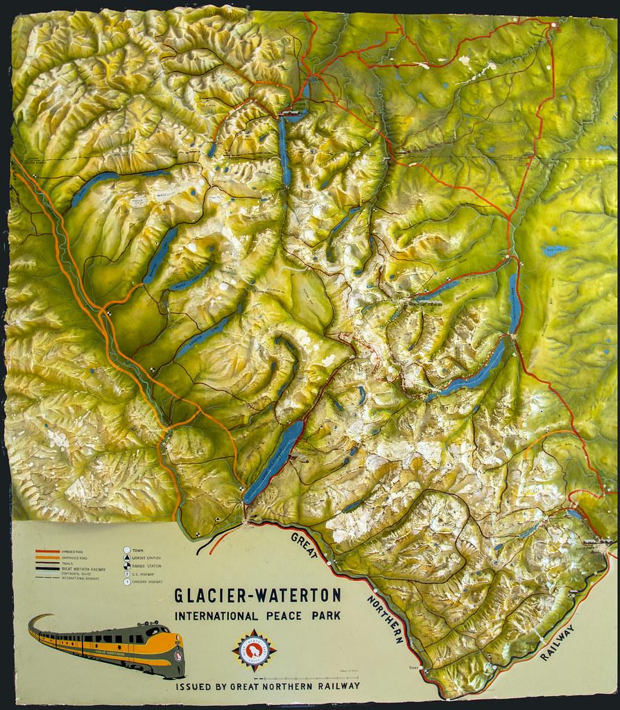 Vintage Glacier Park Map | displa at Glacier Park Lodge i ... on glacier natl park map, east glacier park map, glacier park peak map, glacier park hotel map, glacier montana map, many glacier hotel map, glacier park camping map, lake mcdonald lodge map,