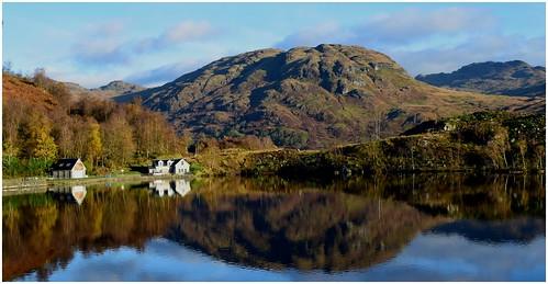 stronachlachar scotland lochkatrine highlands trossachs autumn blue cottage theoldsmiddy