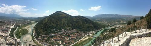 albania berat castle kalajaeberatit gorica osumiriver panorama