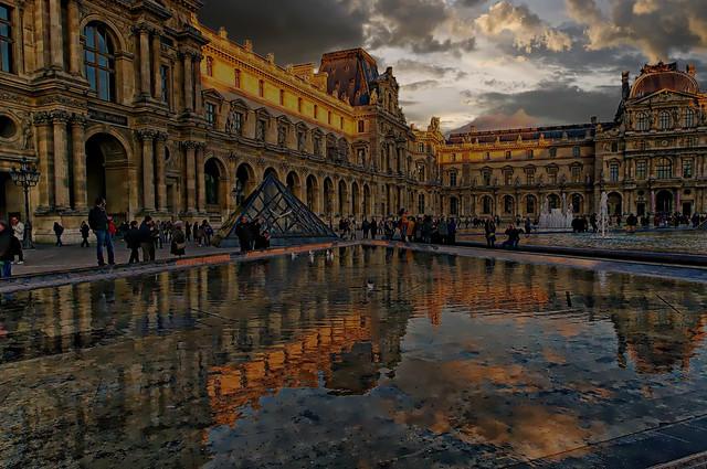 Louvre soleil couchant d'hiver
