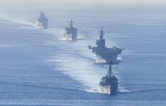 USS Wayne E. Meyer (DDG 108) leads USS Essex (LHD 2), USS Rushmore (LSD 47) and USS Anchorage (LPD 23) in formation during a simulated strait transit as part of Dawn Blitz, Oct 26. (U.S. Navy/MC2 Donavan K. Patubo)