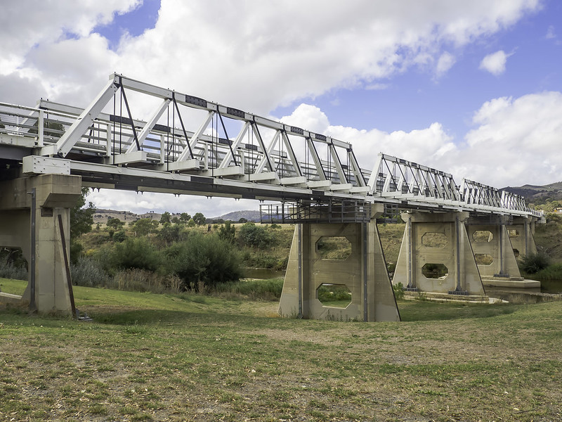 Historic Tharwa Bridge over Murrumbidgee River.