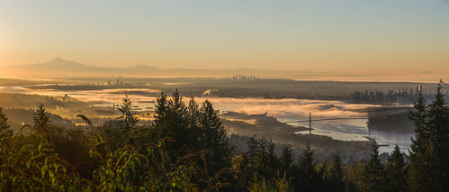sunrise skyline vancouver foggy harbour bridge britishcolumbia canada morning pacificnorthwest bc orange landscape cypress mountains lionsgate panoramic nikon d7000 dslr downtown tourism cityscape port