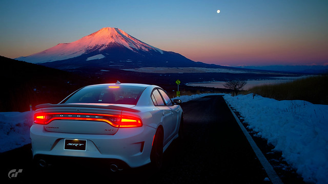 Charger Hellcat On Winter Road With Dawn Mountain