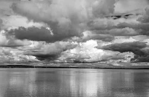 tramsteer motorway bridge clouds cumulonimbus monochrome blackwhite reflections water bristolchannel somerset geotag