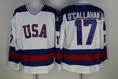 Men's 1980 Olympic USA  #17 Jack O'Callahan  White Stitched Jersey