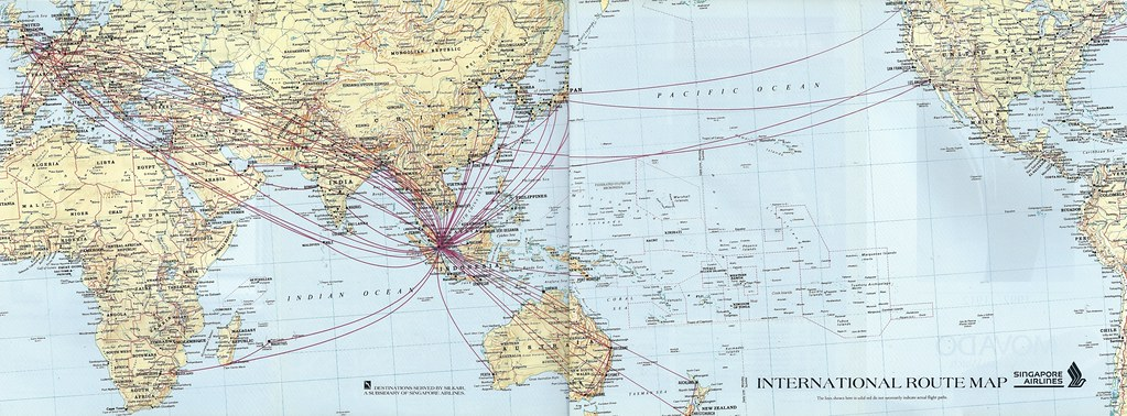 Singapore Airlines route map, 1993 | The Singapore Airlines … | Flickr