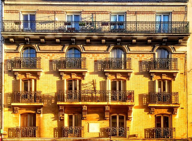 Morning sunlight on balconies