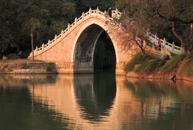 Beautiful Chinese bridge at garden - Hefei, China