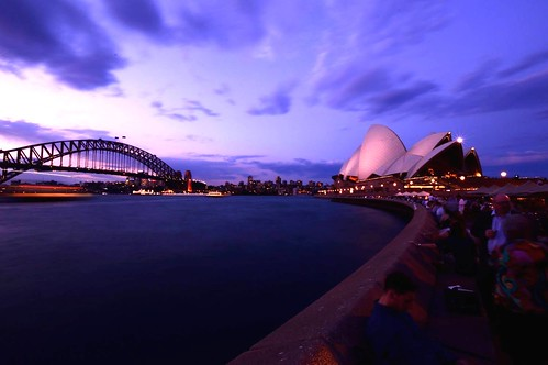 sydney circular quay harbour bridge opera house ocean water world travel lights long exposure sunsets sunset cityscapes cityscape skyline australia people nikon movement blue red yellow please try explore clouds