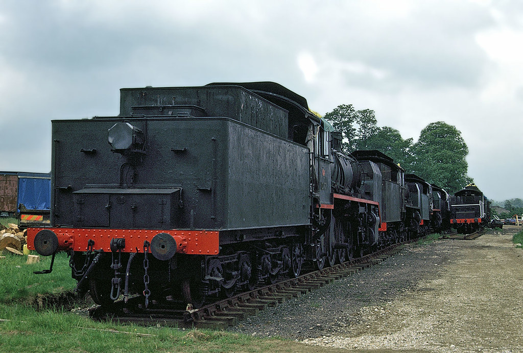 "Finnish Railways ""Risto"" Tr1 2-8-2 No. 1077 with other Finnish locos in Acton, Sudbury, Suffolk on 18 July 1989"