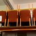 Beech framed terra-cotta fabric chair E80