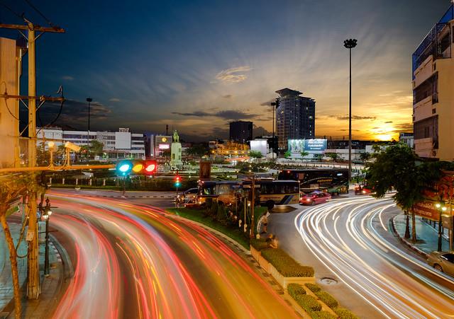 Day to Night and Light Trail at Wongwianyai Bangkok