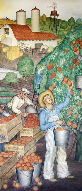 Mural at Coit Tower: California - Picking oranges