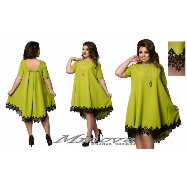 8fa1272773a ... Красивое женское платье большого размера свободного кроя отделка кружево  оливка
