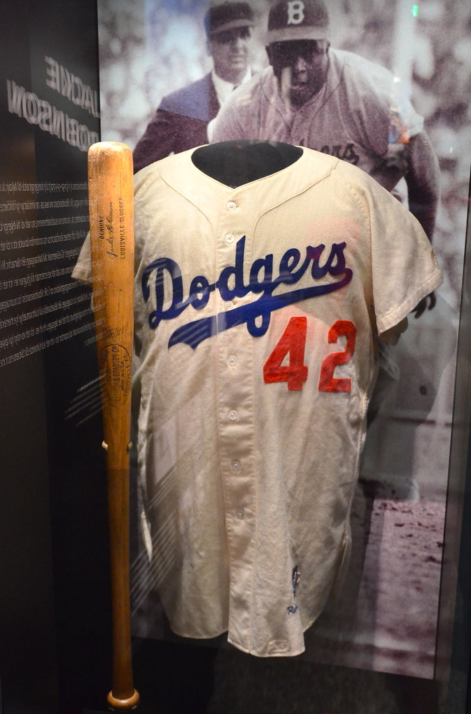 free shipping a9122 494bb Jackie Robinson bat and jersey | National Museum of African ...