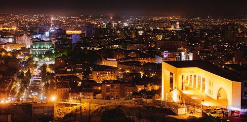yerevan caucasus armenia city night architecture cityscape monument history longexposure