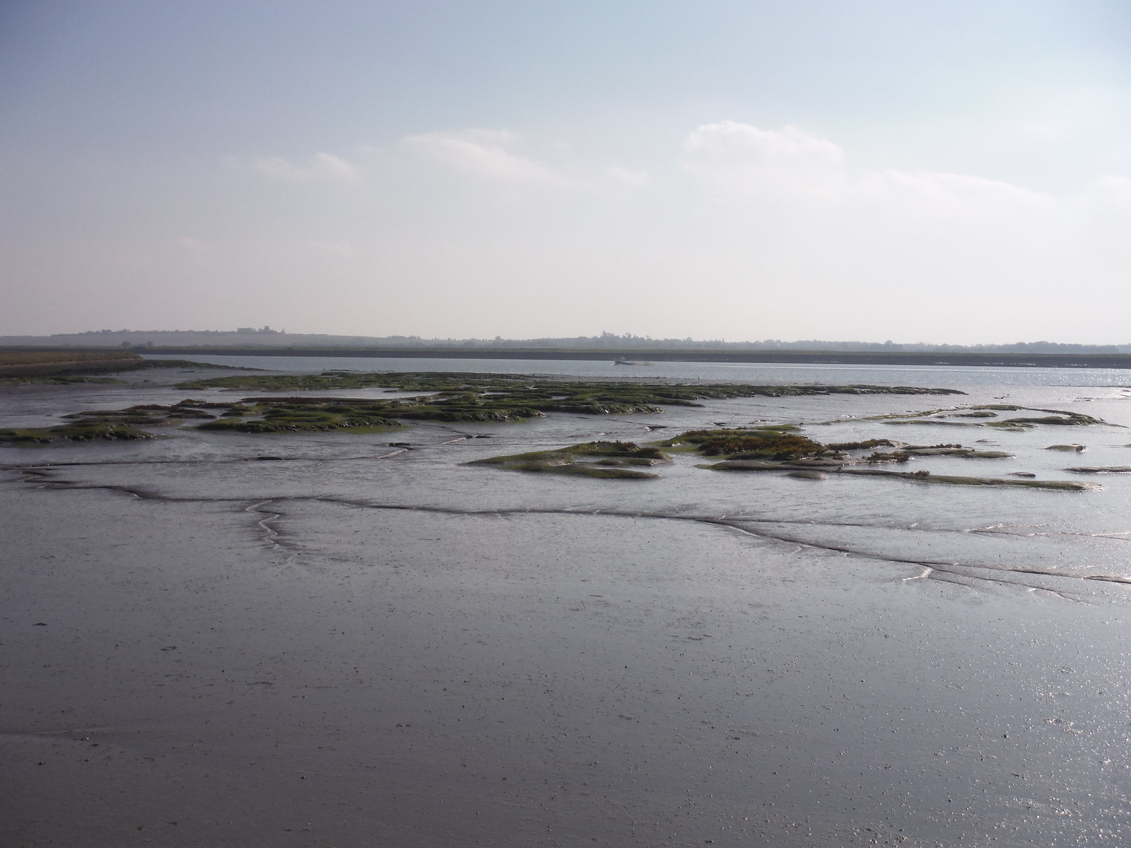 Mudflats and boat in river SWC Walk 162 North Fambridge to Burnham-on-Crouch