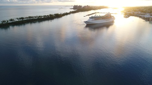 nauticalvessel water reflection transportation tranquilscene travel traveldestinations cruiseship drone dronephotography aerialview bahamas boat sea sunrise nassau ship shotondrone aerial