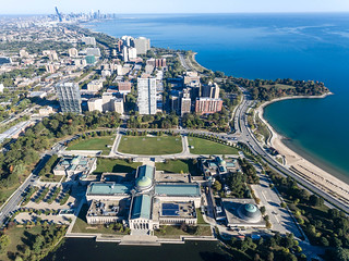 Aerial photo of the Museum of Science and Industry, East Hyde Park and Promontory Point | by marcoverch