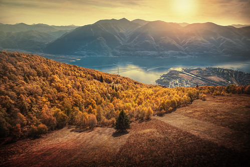 lagomaggiore switzerland ticino ascona locarno cardada alpine mountains eveningmood eveninglight eveningcolors sunset autumncolors autumnforest