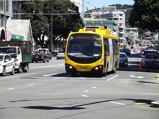 Wellington trolley bus along Taranaki Street (October 2017)