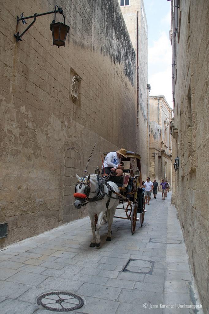 Hevoskärryt Mdinan kapealla kadulla