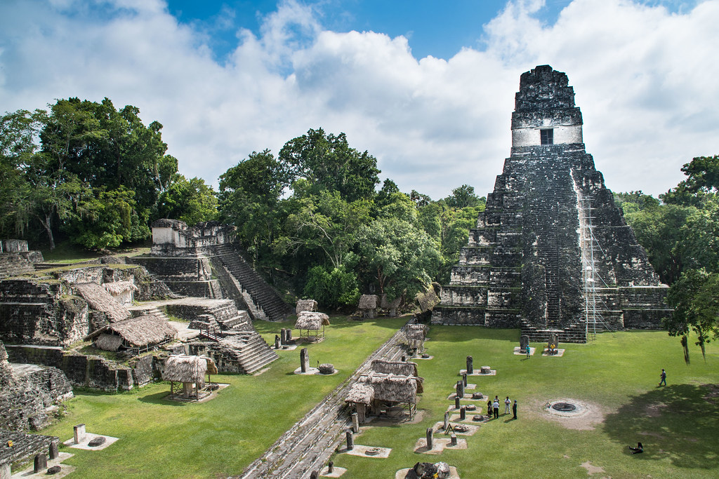 Archaelogical Maya city Tikal in Guatemala - Central place with temples, palaces, stelae and stones to offer sacrifices to the gods.
