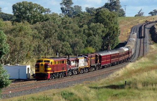 Veteran alco locomotives 4403+4814+852+4520 lead the St James Rail Cruise train as it drops down into Stuart Town after crosssing a Coonamble bound goods #1813