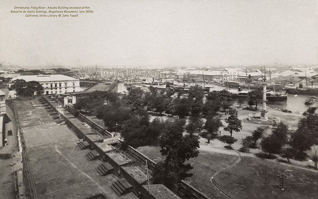 Intramuros, Pasig River, Aduana Building, Baluarte de Santo Domingo, Magallanes Monument, Manila. Philippines, late 1800s