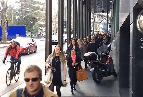 Motorcycle blocking footpath
