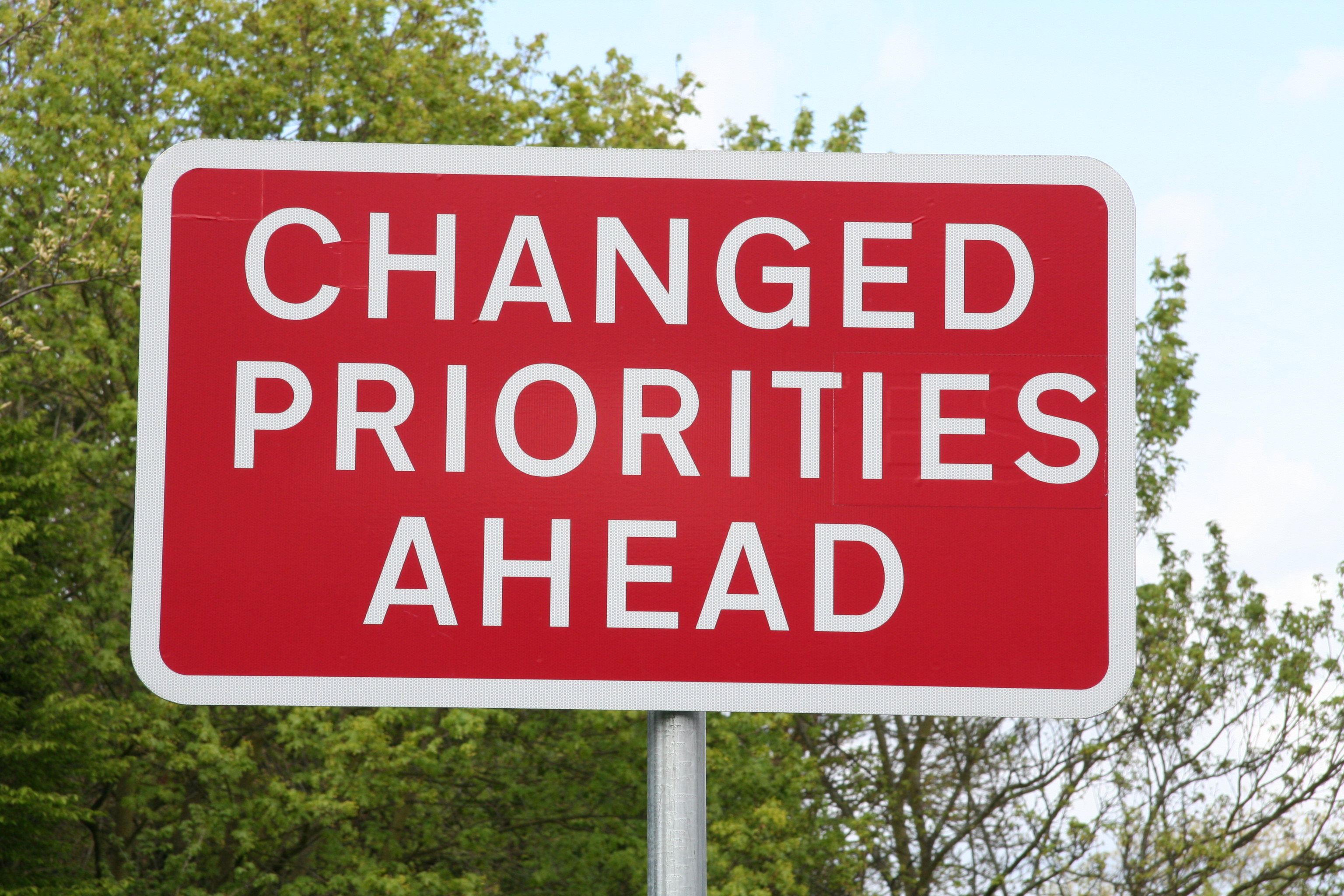 Straßenschild mit der Aufschrift 'Changed priorities ahead'