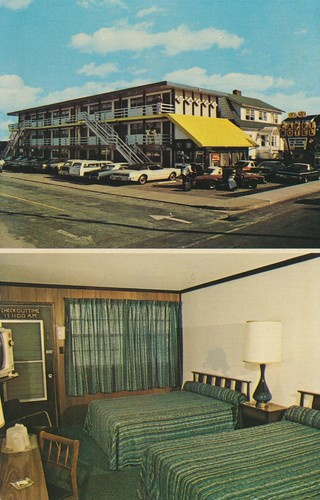 vintage postcard maryland motel oceancity roomview cokemachine dualview