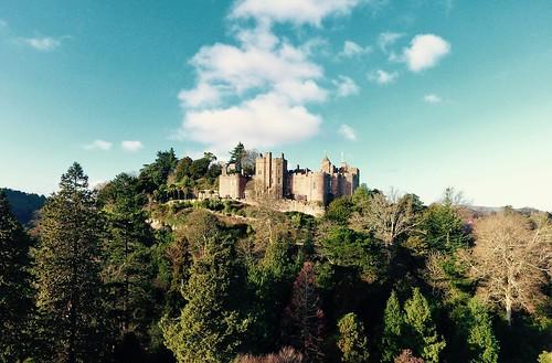 phantom4 aerialview aerial drone dji medieval castle landscape northsomerset somerset dunster dunstercastle