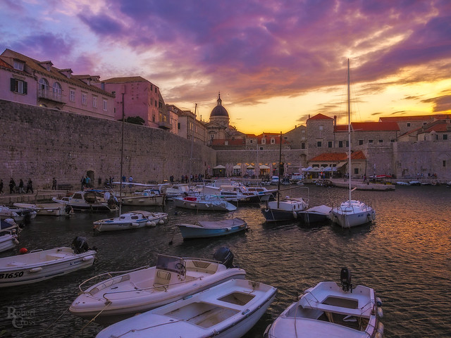 Fiery Skies Over the Medieval Port