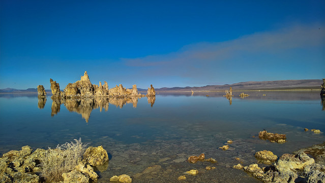 Tufas and Their Reflections at Mono Lake