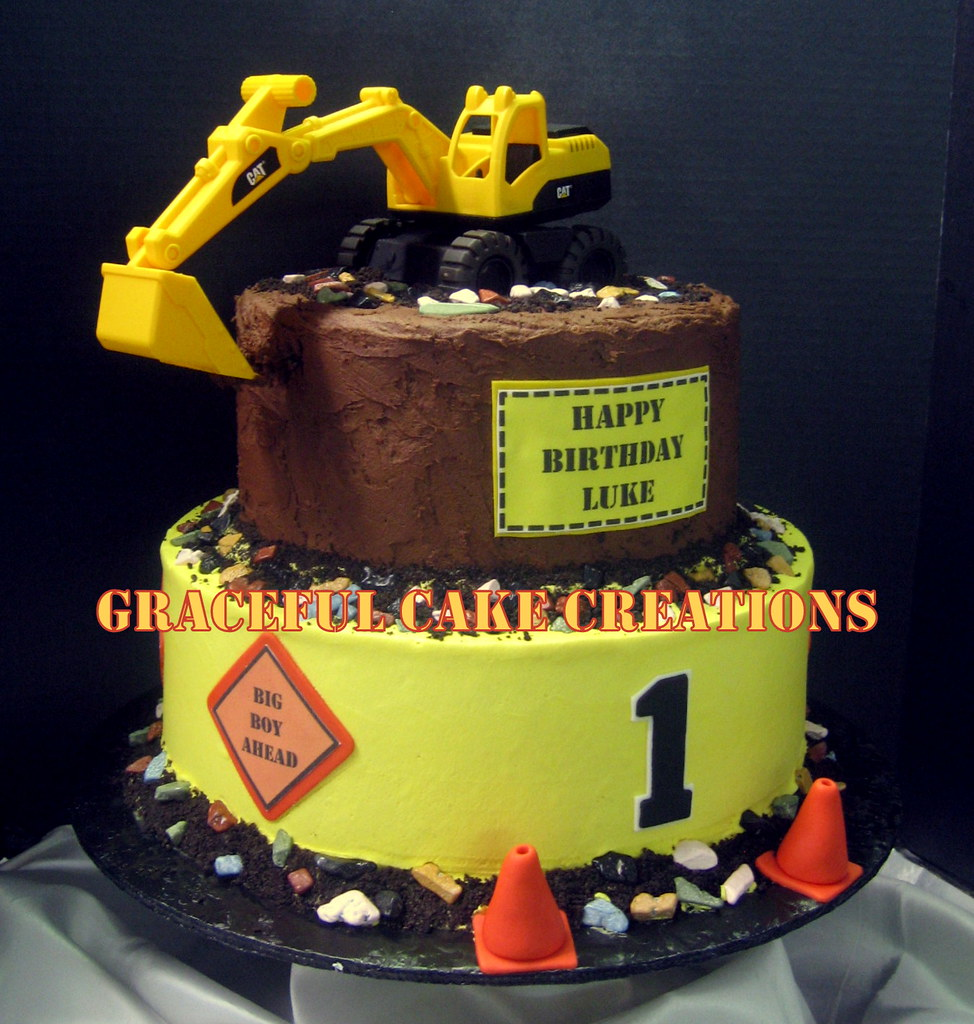 Remarkable Construction Themed 1St Birthday Cake Grace Tari Flickr Funny Birthday Cards Online Elaedamsfinfo