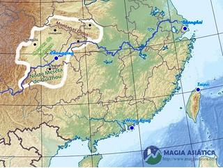Region Sichuan Chongqing mapa físico | by contacto.magiasiatica