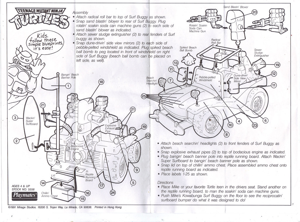 TEENAGE MUTANT NINJA TURTLES :: MIKE'S KOWABUNGA SURF BUGGY ..instructions (( 1991 )) by tOkKa