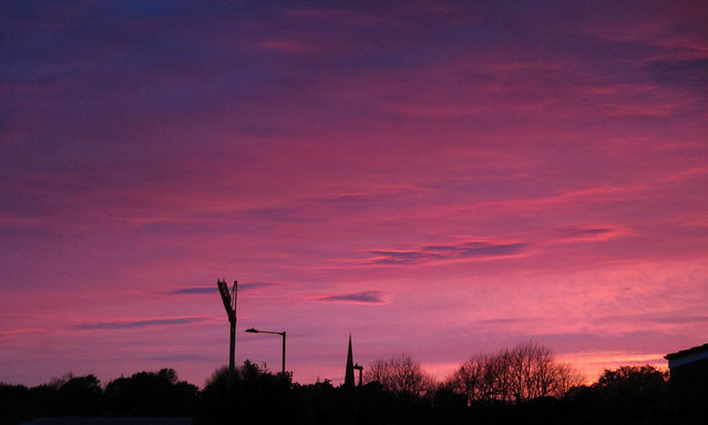Sunset over Birmingham, England UK