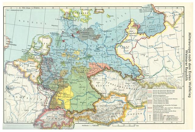 Archiv N714 Mitteleuropa nach dem Ersten Weltkrieg, Historische Karte, Weimarer Republik